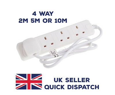 NEW EXTENSION LEAD 4 GANG SOCKET SWITCHES WHITE 2m,10m MAINS WIRE UK SELLER xmas