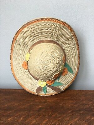 Art Deco pottery wall pocket by Varden in the form of a straw hat with flowers