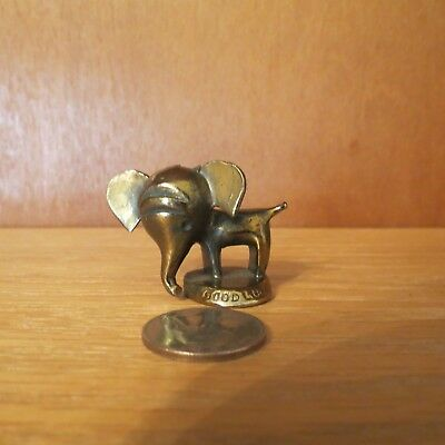 """Miniature Elephant Good Luck is Printed on Base 1 1/2"""" Tall Quarter for Sizing"""