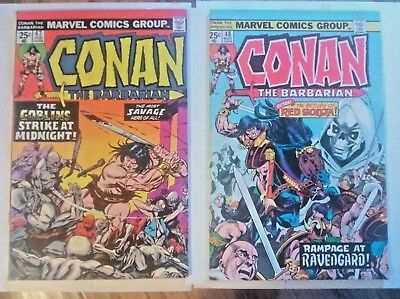 Lot of 2 Conan The Barbarian Comics #47, 48 (Marvel 1974) GD/VG/FN/VF-Red Sonja