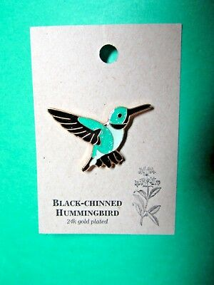 NATURES CHARMS BLACK-CHINNED HUMMINGBIRD 24k GOLD PLATED LAPEL HAT PIN (36)