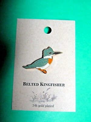 NATURES CHARMS BELTED KINGFISHER 24k GOLD PLATED LAPEL HAT PIN (19)