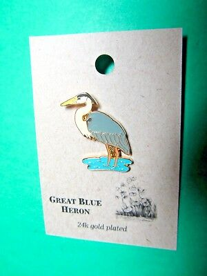NATURES CHARMS GREAT BLUE HERON 24k GOLD PLATED LAPEL HAT PIN (25)