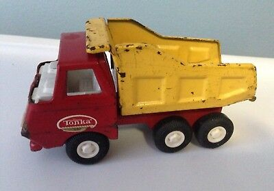 "Vintage Tonka Dump Truck Red Yellow Back Pressed Steel 1960's Small 5"" Inches"