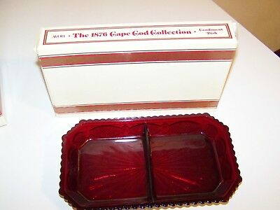 Vintage Avon Ruby Red Cape Cod Divided Condiment Dish Relish Tray ~ Mint In Box
