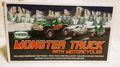 Hess 2007 Monster Truck w/ 2 Motorcycles Brand New