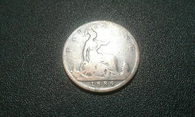 1884 Great Britain Farthing Coin.free Shipping.