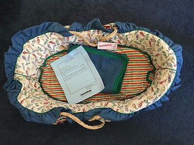 New Hoohobbers Multi Colored Fish  Baby / Puppy Dog Moses Basket & Bedding
