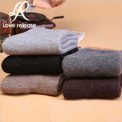 5 Pairs Men's 95%Wool Cashmere Dress Casual Warm Classic Thick Winter Socks Lot