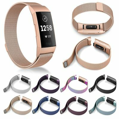 For Fitbit Charge 3 Replacement Magnetic Loop Strap Stainless Steel Wrist Band