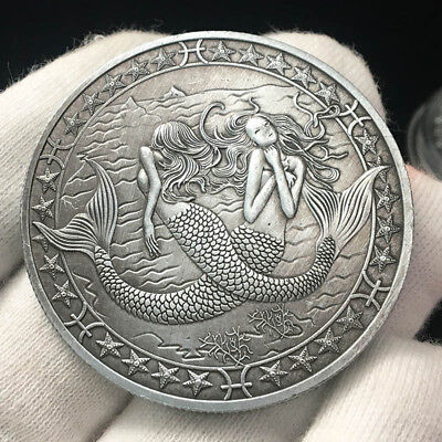 Twelve constellations Pisces Commemorative coin Mermaid coin Collection