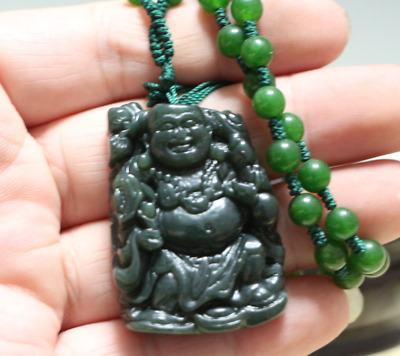 Natural Green Hand-carved Chinese Hetian Jade Pendant -Buddha-Free Necklace 100