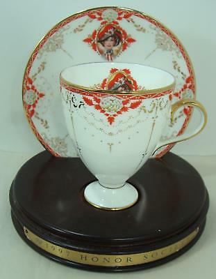 1997 Avon  Mrs Albee Honor Society Unique Cup & Saucer with wood stand