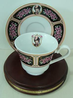 2004  Avon  Mrs Albee Honor Society Unique Cup & Saucer with wood stand