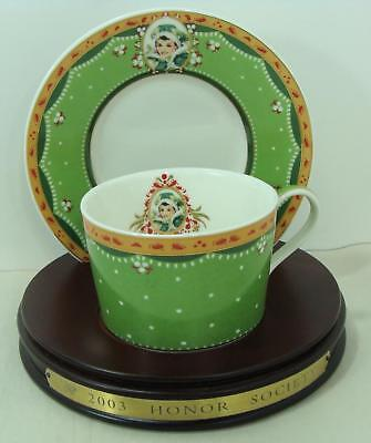 2003  Avon  Mrs Albee Honor Society Unique Cup & Saucer with wood stand Gorgeous