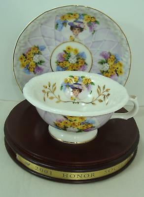 2001  Avon  Mrs Albee Honor Society Unique Cup & Saucer with wood stand Gorgeous