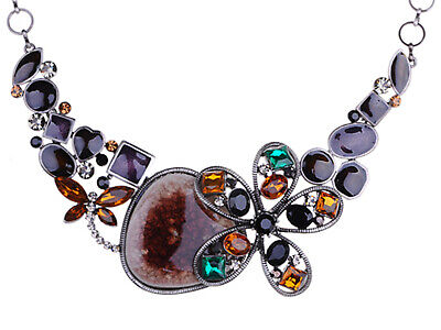 Christmas Silver Tone Crystal Rhinestone Butterfly Necklace Pendant For Women