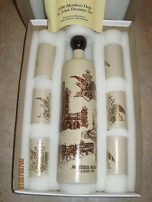 Anheuser Busch Collectors Club 2006 Members Only St Louis Decanter Set #00103