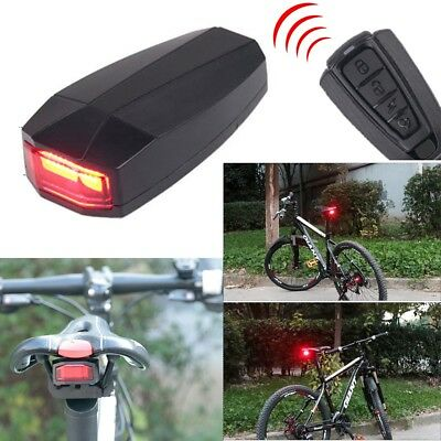 Bicycle Remote Control Alarm Bike Security Anti-theft Lock LED Rear Tail Light