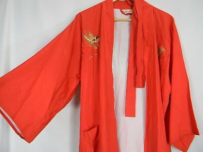 Vintage Made in Japan 100% Silk Robe Gold Embroidered Dragons S/M