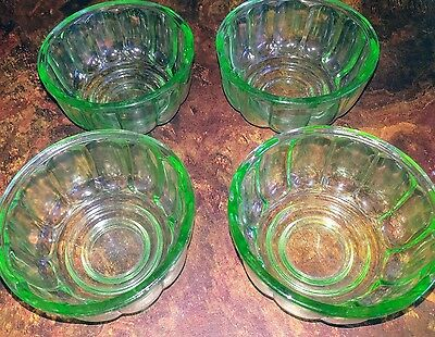 green depression glass jelly moulds