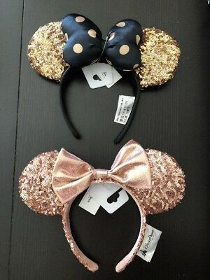Disney Parks Rose Gold Sequins + Black & Gold Minnie Mouse Ears Headband