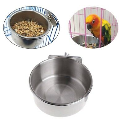 Pet Bird Cat Dog Stainless Steel Food Water Bowl Cage Cup Hanging Hook Tool New