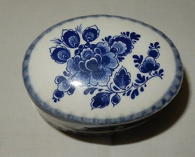 Blue and White Delft Oval Trinket Box