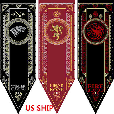 US! Game of Thrones Flag Targaryen Stark Lannister Home Decor Banner Costume