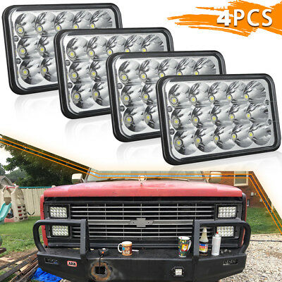"""4""""X6"""" LED Headlights Square Projector Hi/Lo Beam Chrome LIghts for Ford Mustang"""