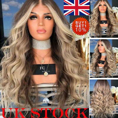 UK Women Brown Gold Ombre Long Wavy Curly Hair Wigs Ladies Natural Synthetic Wig