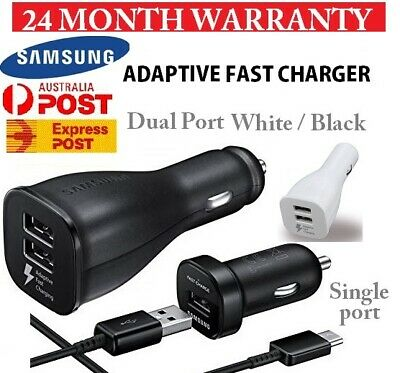 Genuine Samsung Dual Car Charger Fast Type C USB 3.1 S8 S9 Note 8 Note 9 S7 S10