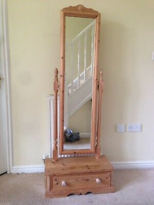 Cheval mirror Freestanding Solid Pine With Base Drawer