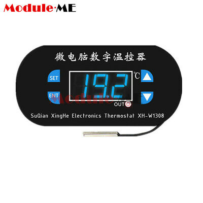 W1308 AC/DC12V Digital Thermostat Temperature Alarm Controller Meter Blue LED