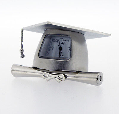 Novelty Solid Brass Miniature Graduation Cap Clock in Chrome Plate