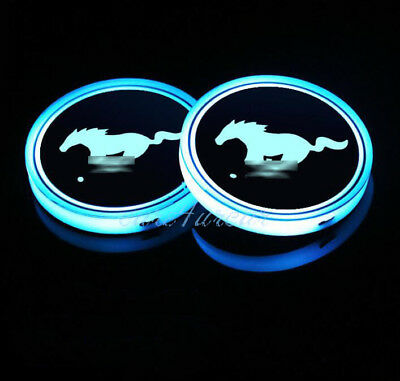 2Pcs Colorful LED Car Cup Holder Pad Mat for Ford Mustang Auto Atmosphere Lights