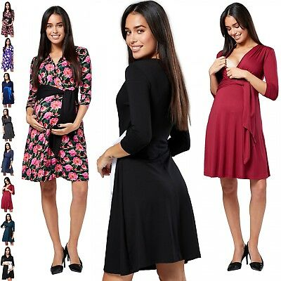 Chelsea Clark. Women's Maternity Empire Waist Dress V-Neckline Front Tie .047p