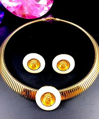 Monet Gold-Tone Omega Collar Necklace Cream Enamel Greek Coin Earrings Set