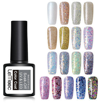 LEMOOC 8ml Glitter Nail Art UV Gel Polish Sequins Shimmer Soak Off Gel Varnish