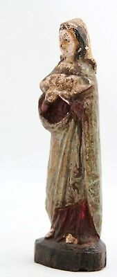 antique 17th C small wooden statue Madonna, Holy Virgin Mary with Child Jesus