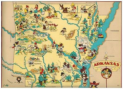 Vintage 1938 ARKANSAS Our USA A Gay Geography Cartoon Pictorial Map Rare