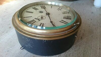LARGE ANTIQUE SHIPS BULKHEAD CLOCK (1800s) WITH KEY WORKING BEVELLED GLASS