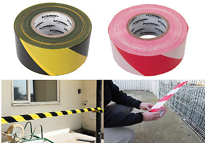 70mm x 500Mtr Barrier Safety Hazard Tape Red & White or Black & Yellow Non Stick