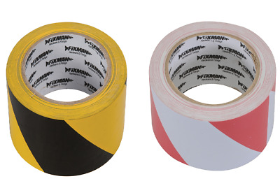 50mm x 33Mtr Self Adhesive Hazard Tape Yellow & Black or Red & White Safety Tape