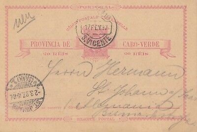 Cabo Verde: 1897: post card St. Vicente to St. Johann
