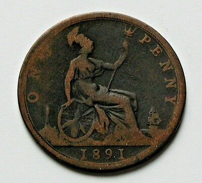 1891 UK (British) Victoria Coin - One Penny (1d) -