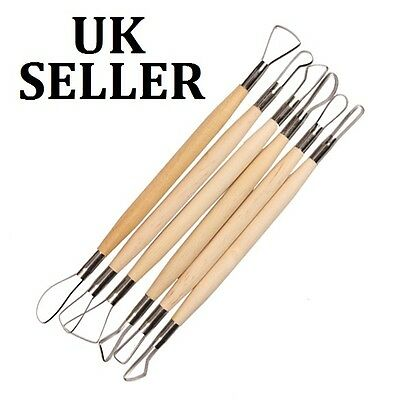 6pcs 8 inch Wood Handle Wax Pottery Clay Sculpture Carving Tools Craft UK SELLER