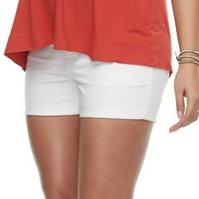 Maternity a:glow Size 16 White Belly Panel Cuffed Jean Shorts $44