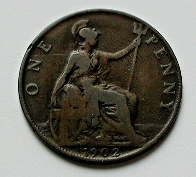 1902 UK (British) Edward VII Coin - One Penny (1d) -