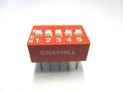 DIP Switch, 5 Position PC Mount DIP Switch (NOS, New Old Stock)(QTY 5 ea)D24